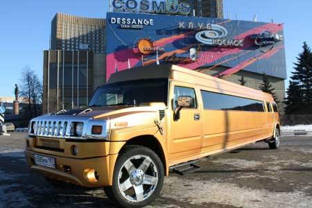 Джип лимузин Хаммер золотой для свадебного кортежа